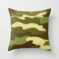 camo Throw Pillows featuring CAMO by Bruce Stanfield