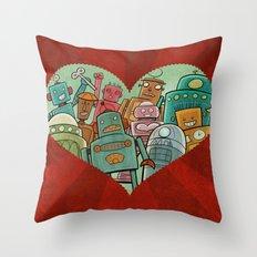 Robot Love Throw Pillow