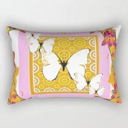 White Butterflies Orchid Sprays Purple Lilac-Gold Patterns Rectangular Pillow