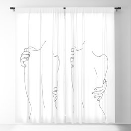 Nude womans back line drawing - Fay Blackout Curtain