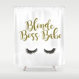 Blonde Boss Babe Shower Curtain