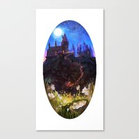 hogwarts Canvas Prints featuring Hogwarts by Spikie