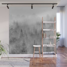Foggy sunrise. BW. Pinsapos into the woods. Square Wall Mural
