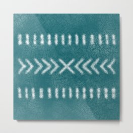 Minimalist Tribal Pattern on Teal Metal Print
