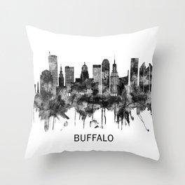Buffalo New York Skyline BW Throw Pillow