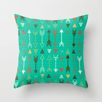 arrows Throw Pillows featuring Arrows by Claire Lordon