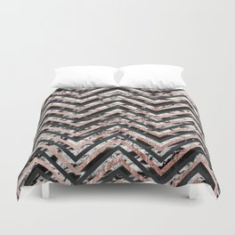 Black and White Marble and Rose Gold Chevron Zigzag Duvet Cover