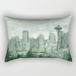 Seattle Skyline Watercolor Space Needle Emerald City 12th Man Art Rectangular Pillow