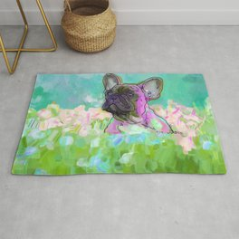 frenchie in the garden Rug