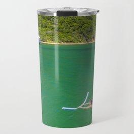 Woman swimming in green waters in Brazil Travel Mug