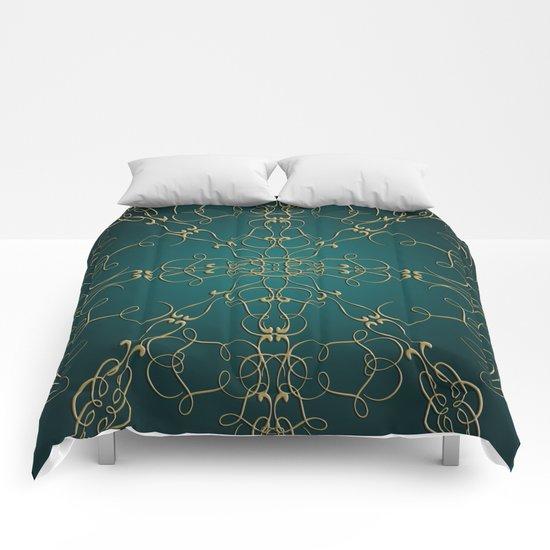 Gold Teal Mandala Comforters