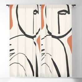 Lady Portrait Abstract Minimal  Line Art 2 Blackout Curtain