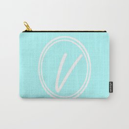 Monogram - Letter V on Celeste Cyan Background Carry-All Pouch