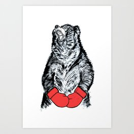 Boxing Bear Art Print