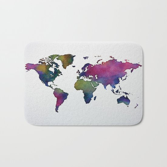 Multicolor World Map 02 Bath Mat