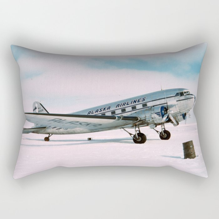 Vintage aviation photograph Alaska Airlines airplane air plane classic pilot flight travel photo Rectangular Pillow
