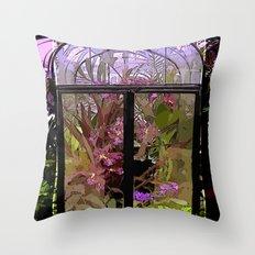 Green House Orchids Throw Pillow