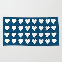 64 Hearts Navy Beach Towel