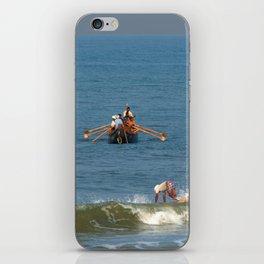 Fishermen off Black Beach Varkala iPhone Skin