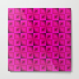 Fashionable large glare from small pink intersecting squares in gradient dark cage. Metal Print