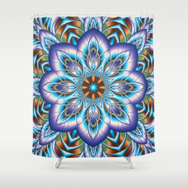 Fantasy flower in purple and blue Shower Curtain