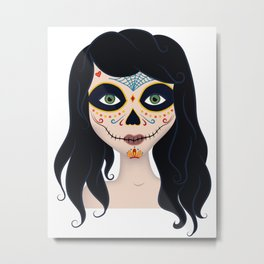 Day of the Dead Girl Illustration Metal Print
