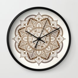 Mandala Brown Floral Moroccan Pattern on Beige Background Wall Clock