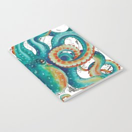 Teal Octopus Tentacles Vintage Map Nautical Notebook