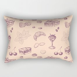 Sweet pattern with various desserts. Rectangular Pillow