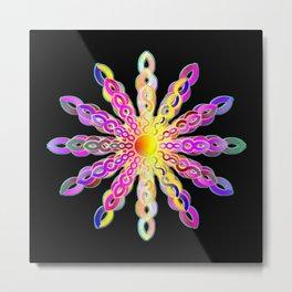 Solar Power Mandala (magenta-gold) Metal Print