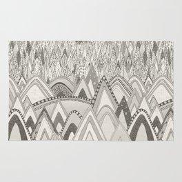 mountains and trees mono Rug
