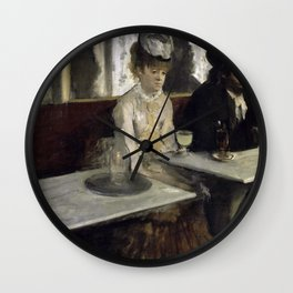 The Absinthe Drinker by Edgar Degas Wall Clock