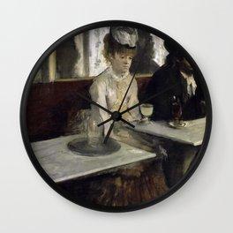 The Absinthe Drinker by Edgar Degas Wall Clock