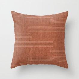 Minimal, Pattern, Boho Prints, Terracotta Throw Pillow