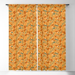 Fall Foliage in Yellow, Terracotta, and Blue Blackout Curtain
