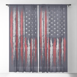 Red & white American flag on Navy ink Sheer Curtain