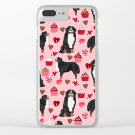 Bernese Mountain Dog custom valentines day gift for dog lover pet art love dogs Clear iPhone Case