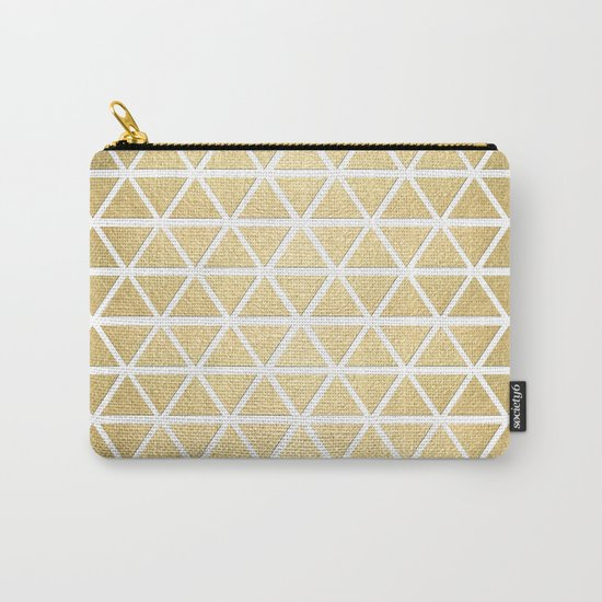 White and Gold Geometric Pattern 3 Carry-All Pouch