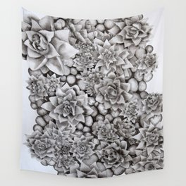 Watercolour pebbles and succulents Wall Tapestry