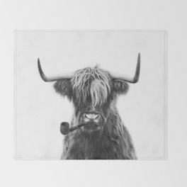 Mr Highland cattle Throw Blanket