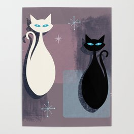 Jazzy Midcentury Modern Black And White Abstract Cats Poster