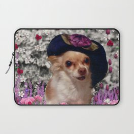 Chi Chi in Purple, Red, Pink, White Flowers, Chihuahua Puppy Dog Laptop Sleeve