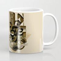 cafe racer Mugs featuring cafe racer by Liviu Antonescu