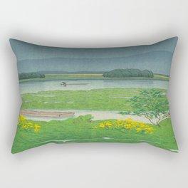 Kawase Hasui Vintage Japanese Woodblock Print Flooded Asian Rice Field Mountain Parallax Landscape Rectangular Pillow