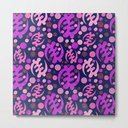 Gye Nyame pattern- purple and pink Metal Print