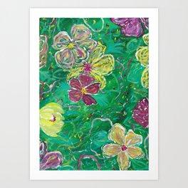 Green Abstract Painting Art Print