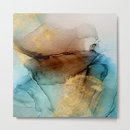 Daintree 1 - teal, gold and brown abstract alcohol ink  Metal Print