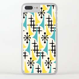 Mid Century Modern Atomic Wing Composition Turquoise & Yellow Clear iPhone Case