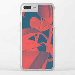 Rubber Plant red and blue Clear iPhone Case