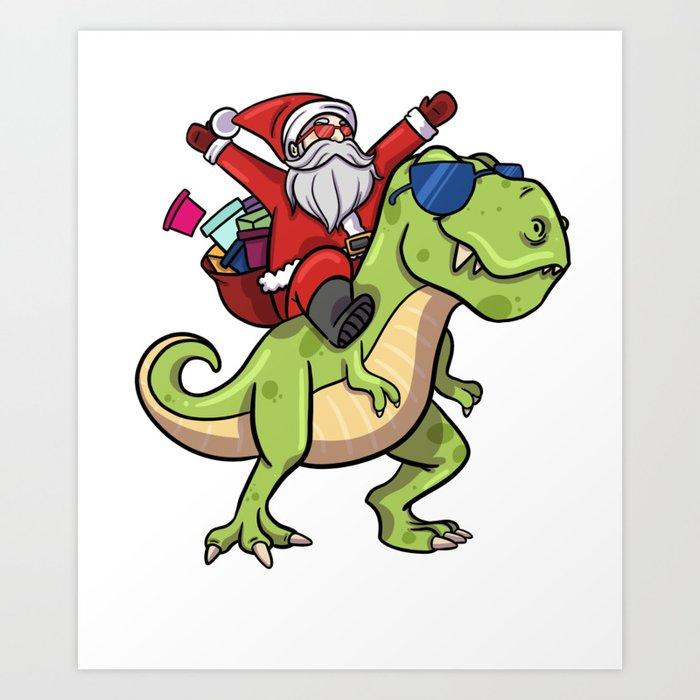 Christmas Dinosaur.Christmas Santa Riding Dinosaur Trex Art Print By Nik007